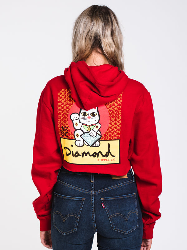 WOMENS LUCKY CAT CROP PULLOVER HOODIE