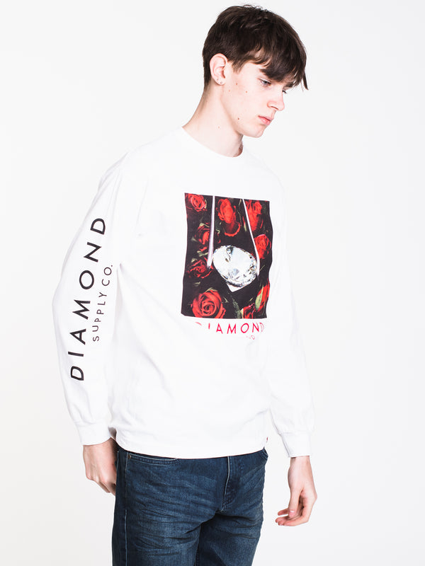 MENS ROSE DIAMOND LONG SLEEVE T - WHITE