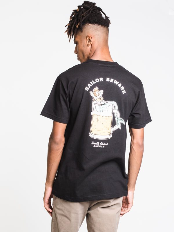 MENS SAILOR BEWARE S/S T - BLACK