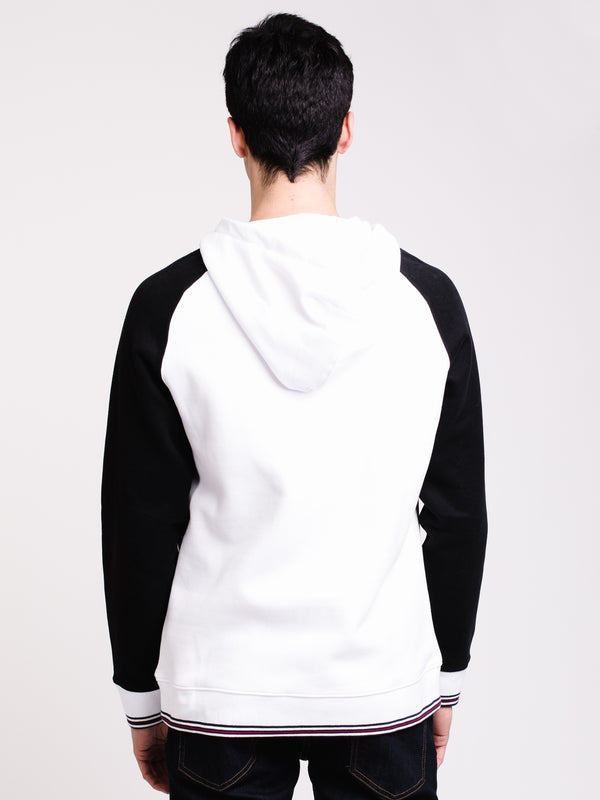MENS ALEXANDRA PULL OVER HOODIE- WHT/BLK