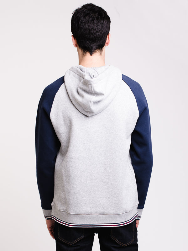 MENS ALEXANDRA PULL OVER HOODIE- GRY/NVY