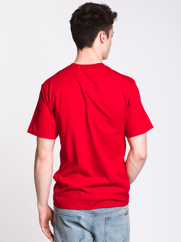 MENS STACKED SHORT SLEEVE T-SHIRT - RED