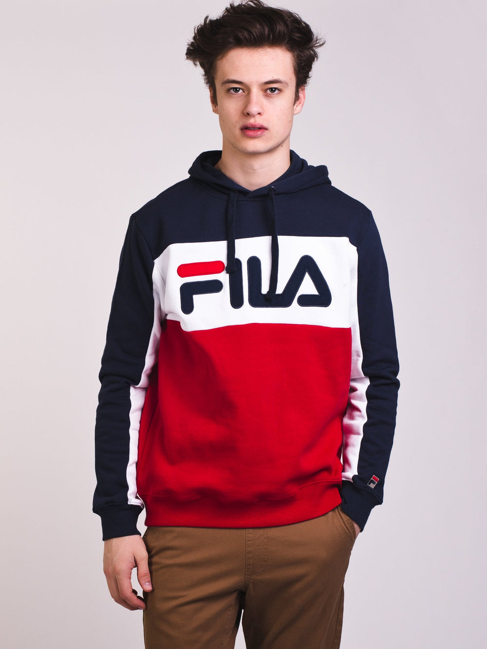 MENS TODD PULL OVER HOODIE - NAVY/RED - CLEARANCE