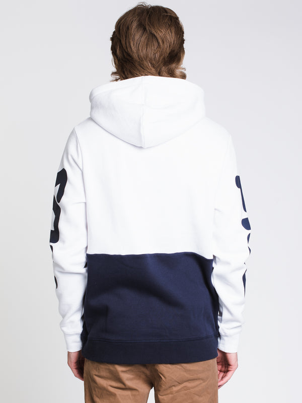 MENS MARZIO PULL OVER HOODIE- NAVY/WHITE