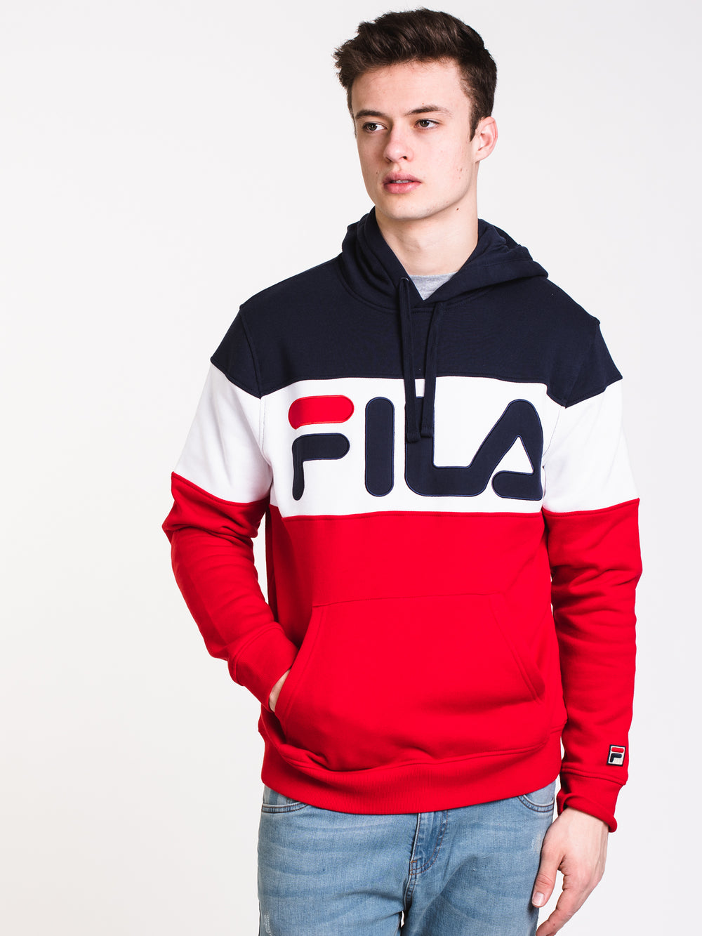 MENS FLAMINO Pullover HOOD - NAVY/RED