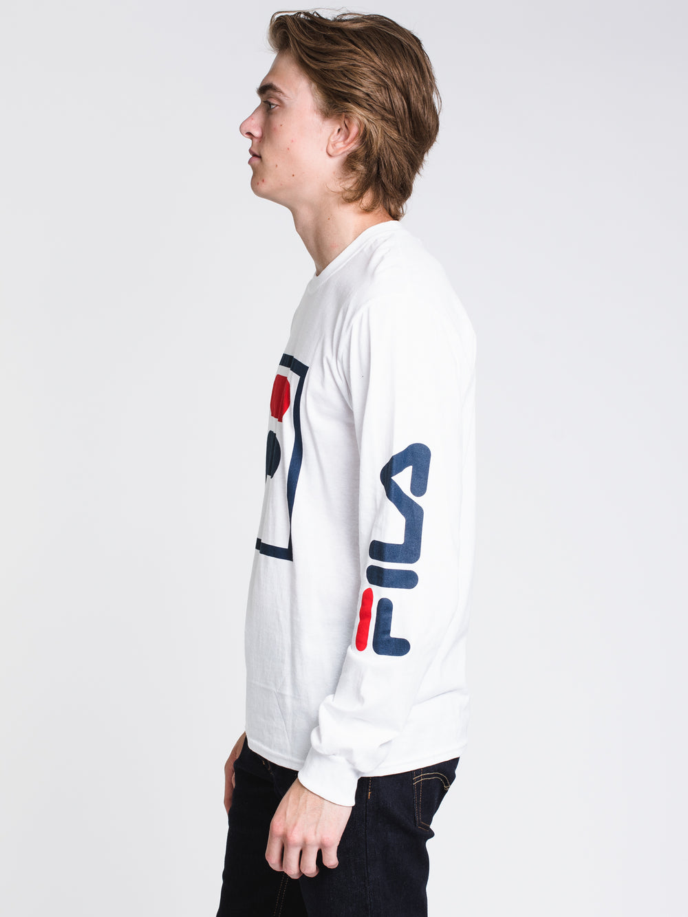 MENS CHEZ LONG SLEEVET-SHIRT- WHITE/NAVY/RED