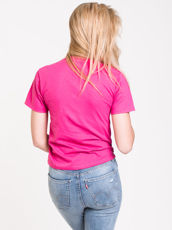 WOMENS BOXY SHORT SLEEVE TEE - FUSCHIA/PURPLE