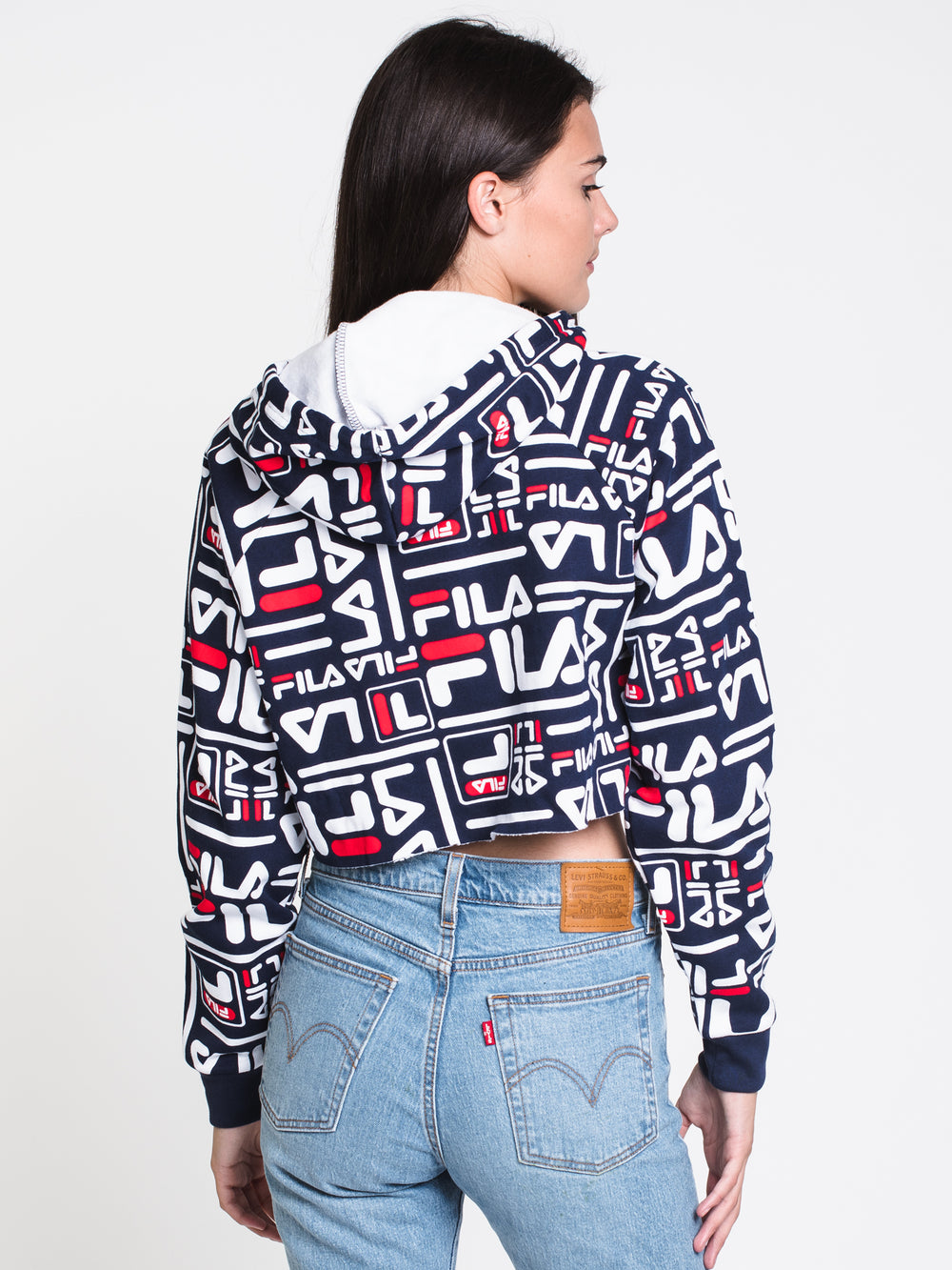 WOMENS CECILIA ALL OVER PRINT PULLOVER HOODIE - NAVY