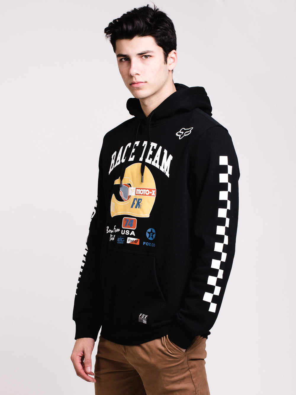 MENS SPEEDWAY PULL OVER HOODIE- BLACK - CLEARANCE
