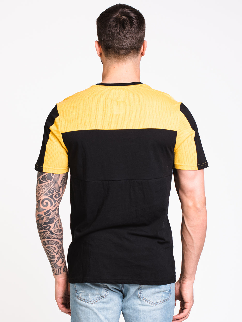 MENS PINNED SHORT SLEEVE JERSEY - BLACK/YELLOW - CLEARANCE