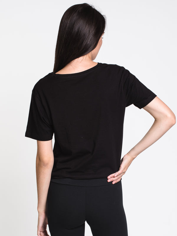 WOMENS ACTIVE CROP CREW SHORT SLEEVE TEE - BLK