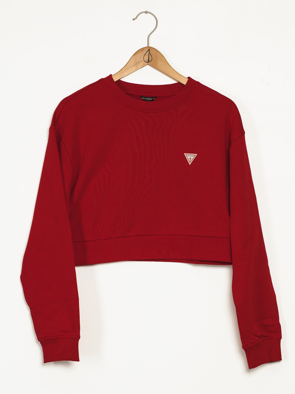WOMENS FRENCH TERRY CROP CREW - RED