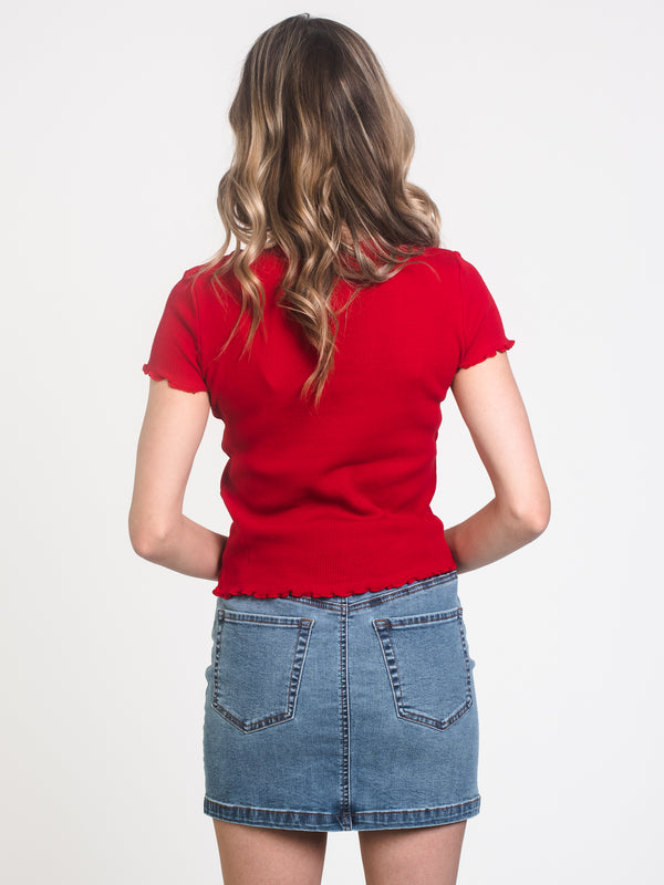 WOMENS WAFFLE CROPPED TEE