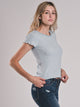 WOMENS ELLIE RIBBED RINGER SHORT SLEEVE T-SHIRT - CLEARANCE