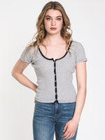 WOMENS PAIGE STRIPE SCOOP TEE