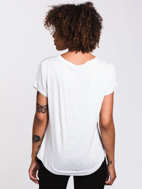 WOMENS LEANNE SOLID TEE - GREY MIX