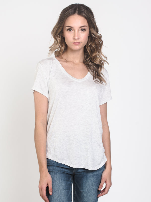 WOMENS LIANNE VNECK TEE - GREY MIX