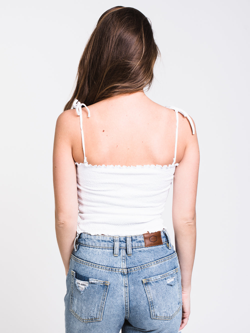 WOMENS SHIRRED TUBE TOP - WHITE