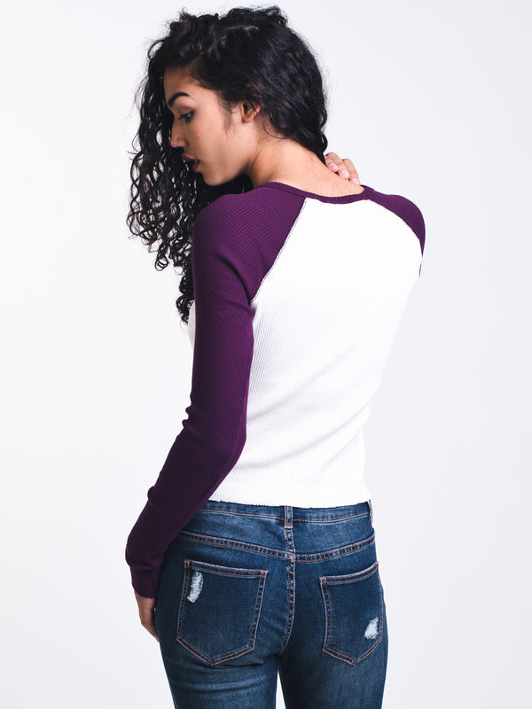 WOMENS MILA RIBBED BASEBALL HENLEY
