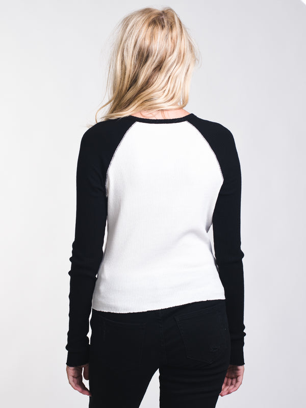 WOMENS MILA RIBBED BASEBALL HENLEY - CLEARANCE