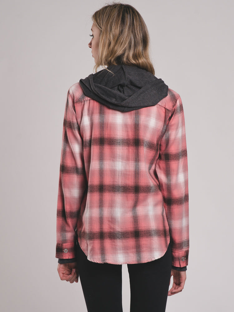 WOMENS KENZIE HOODIE PLAID BUTTON UP SHIRT - CLEARANCE