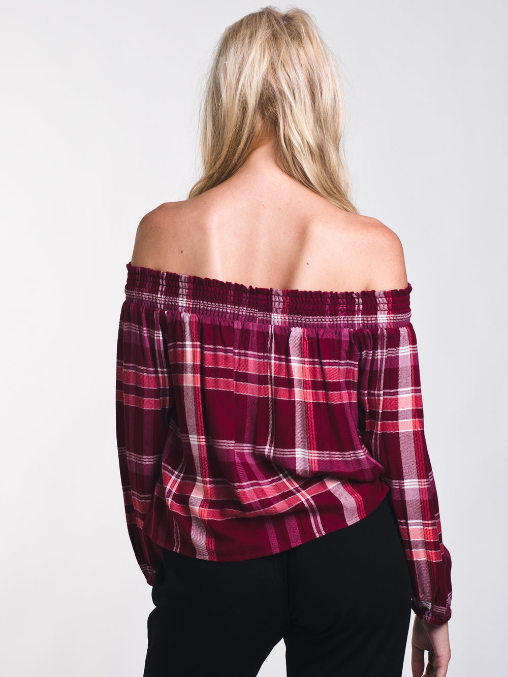 WOMENS CANDICE PLAID OFF THE SHOULDER TOP - CLEARANCE