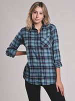 WOMENS VALERIE PLAID BUTTON UP SHIRT - CLEARANCE