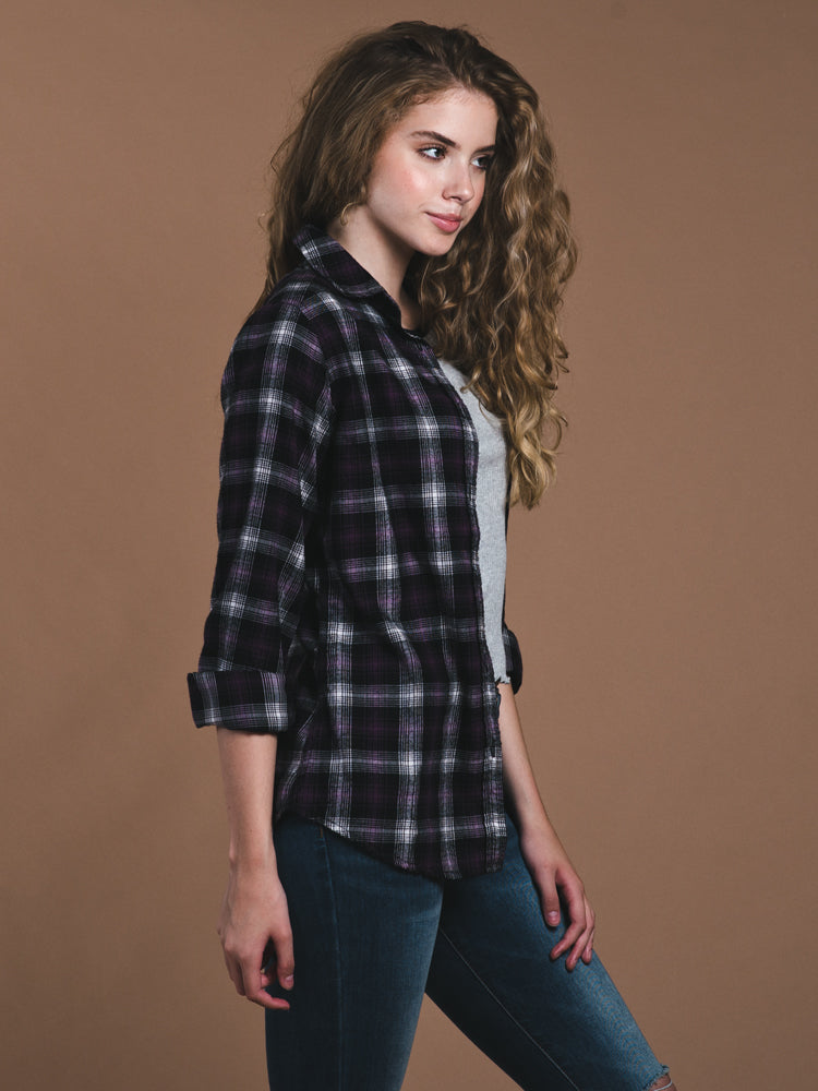 WOMENS ARIA LONG SLEEVE BUTTON UP PLAID SHIRT - CLEARANCE