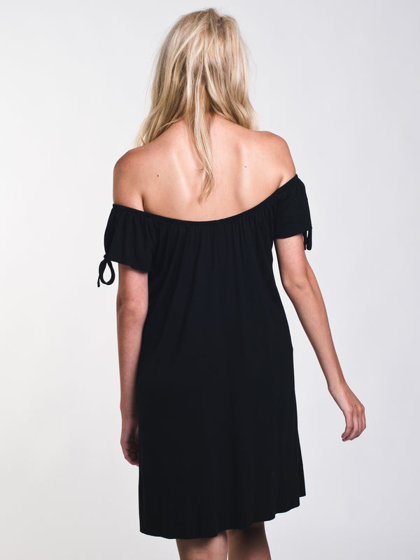 WOMENS DARCY OFF THE SHOULDER SOLID DRESS