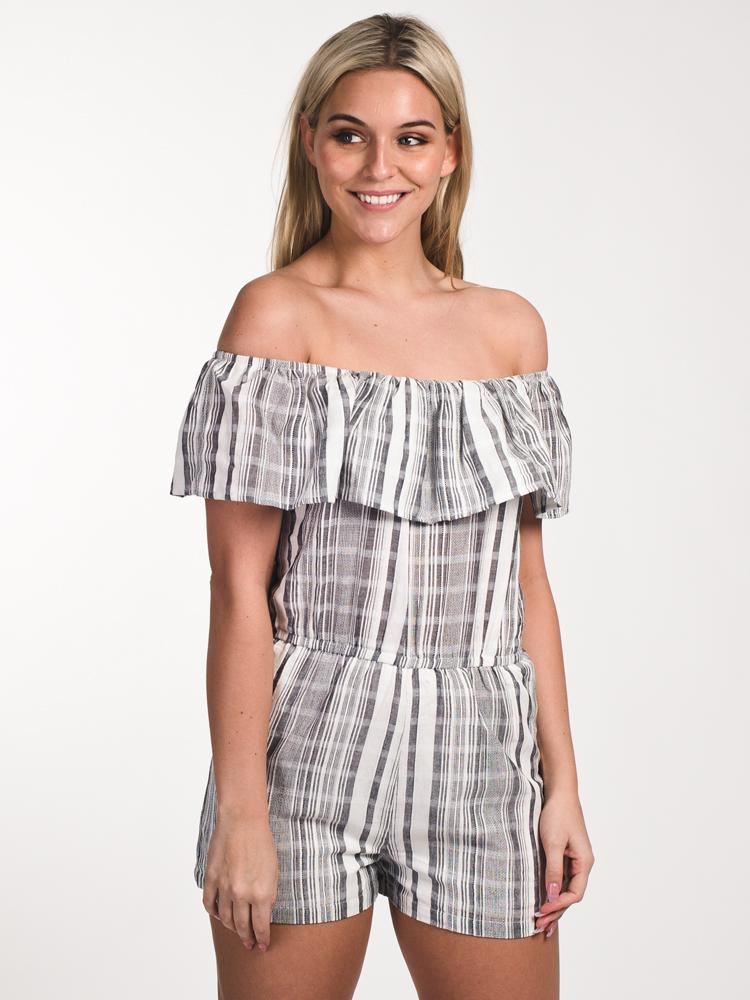 WOMENS WOMENS APRIL OTS RUFFLE ROMPER- CLEARANCE