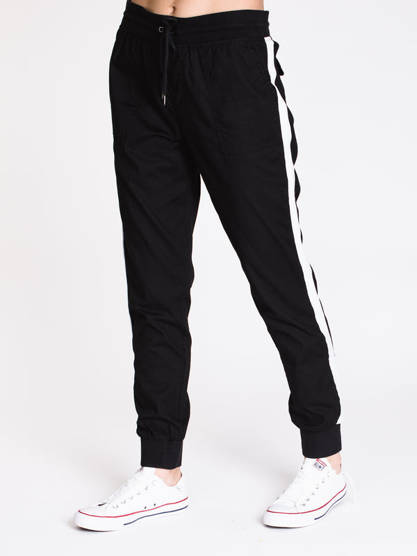 WOMENS CARGO STRIPE JOGGER - BLACK