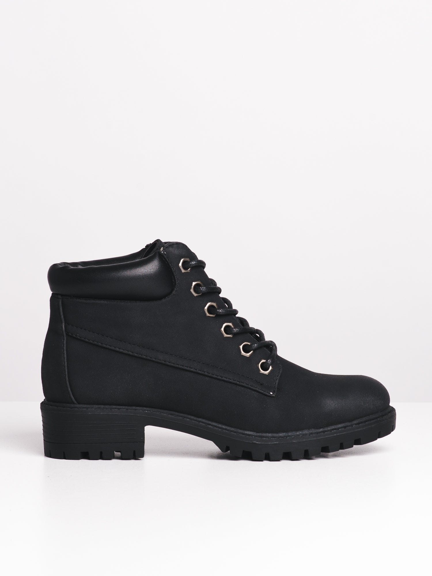 DLG Izzy Womens Vegan Leather Lace up Boot with Leather Stacked Heel /& Lug Tread Rubber Sole