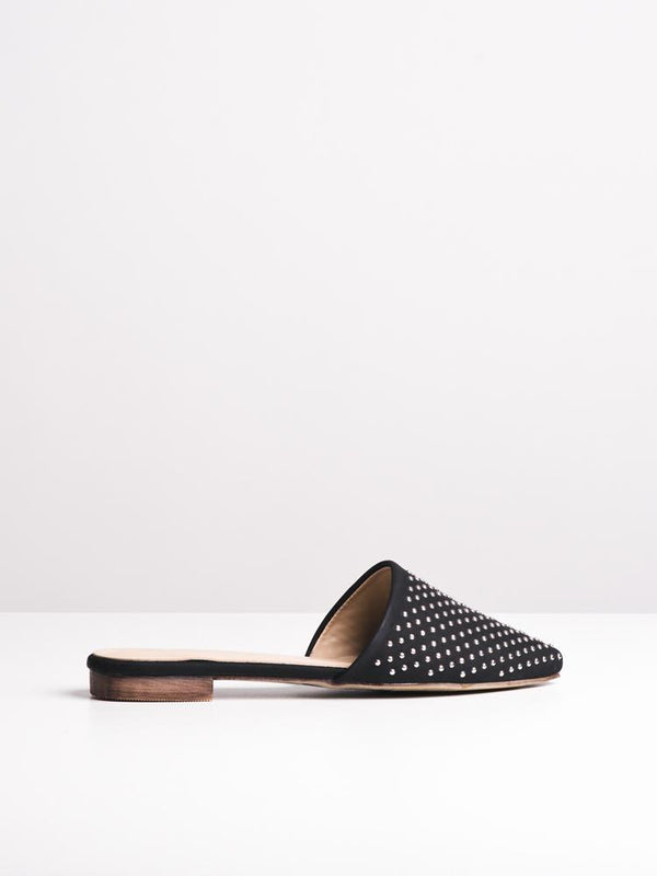WOMENS WOMENS GISELLE BLACK STUDS FLATS- CLEARANCE