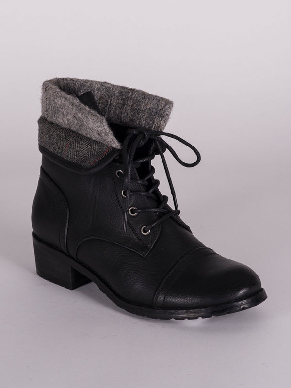 WOMENS KIARA VEGAN LEATHER LACE UP BOOT - CLEARANCE