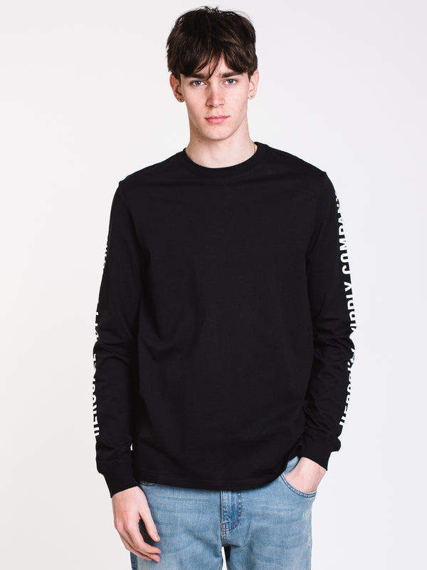 MENS SLEEVE PRINT LONG SLEEVE T-SHIRT - BLACK