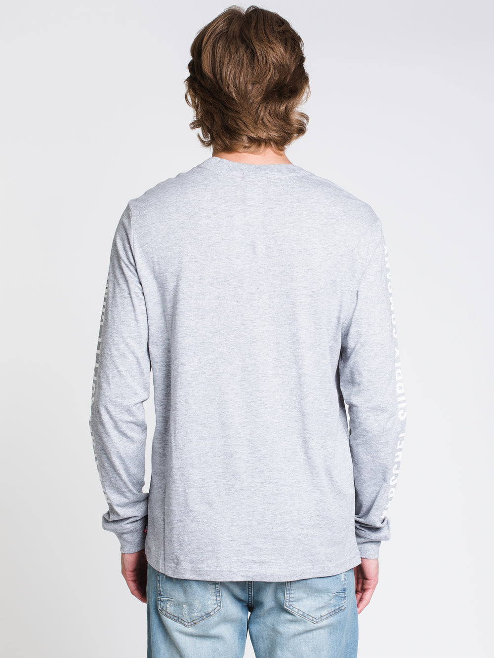 MENS SLEEVE PRINT LONG SLEEVET-SHIRT- GREY