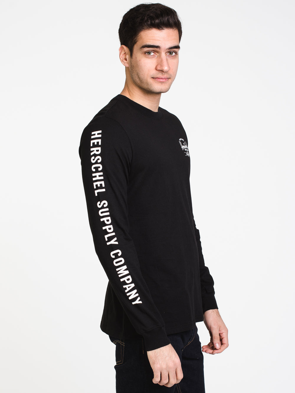 MENS CLASSIC SLV & CHEST LONG SLEEVE T-BLK