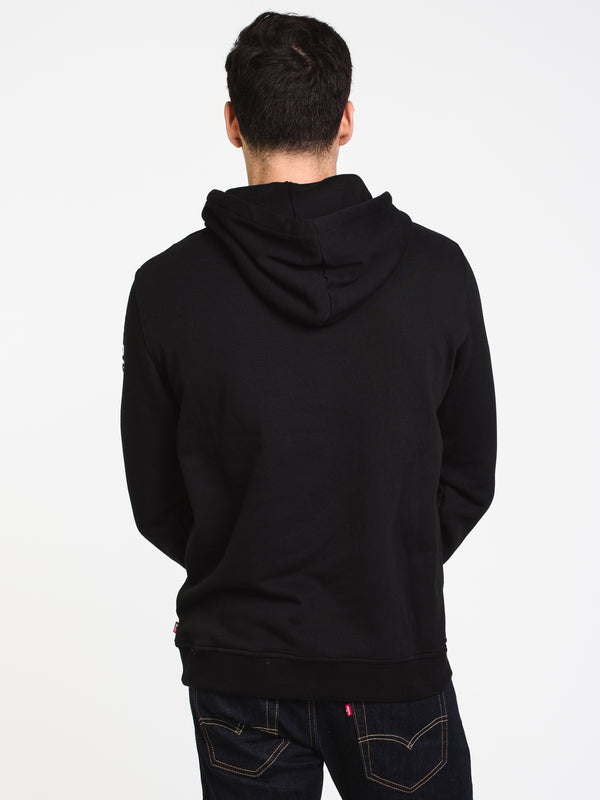 MENS CLASSIC SLV & CHST PULLOVER HOODIE-BLK