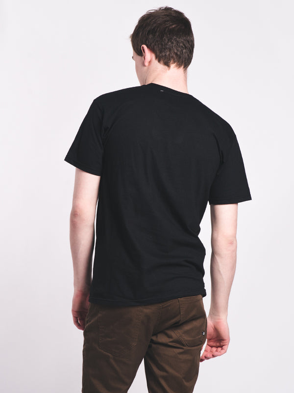 MENS OUTLINE BOX SHORT SLEEVE T-SHIRT - BLACK-WL - CLEARANCE