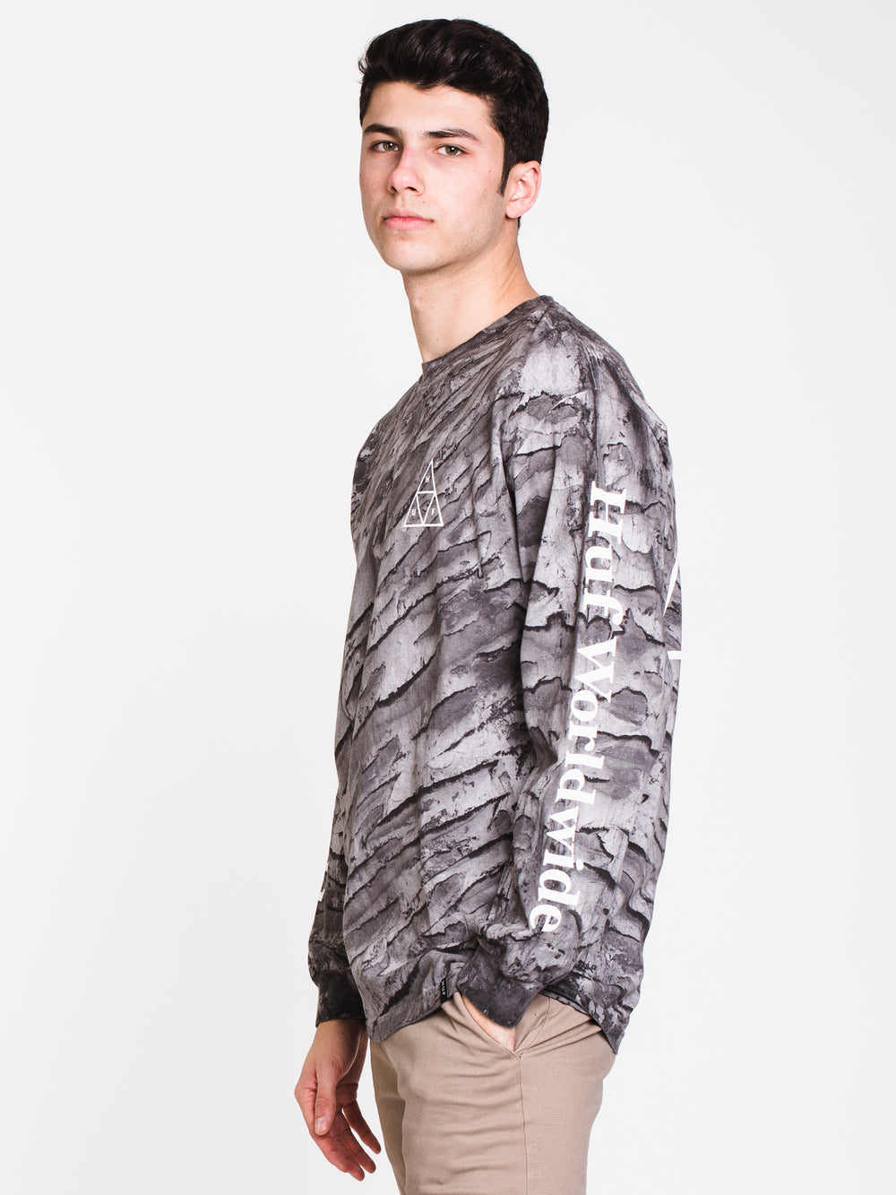 MENS SOHO MARBLED WASH LONG SLEEVE T-SHIRT - CLEARANCE