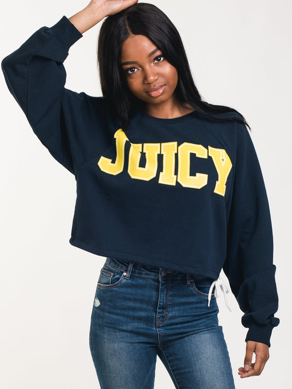 WOMENS JUICY CUTOFF PULLOVER DRWSTRNG CREW