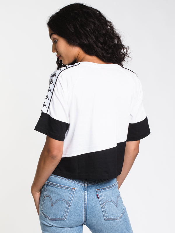 WOMENS BANDA BALIMNOS SHORT SLEEVE CROP - WHT