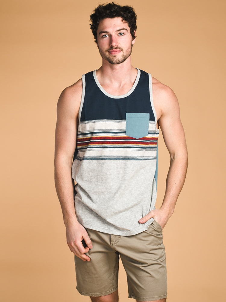 MENS SD STRIPE PANEL TANK- CLEARANCE
