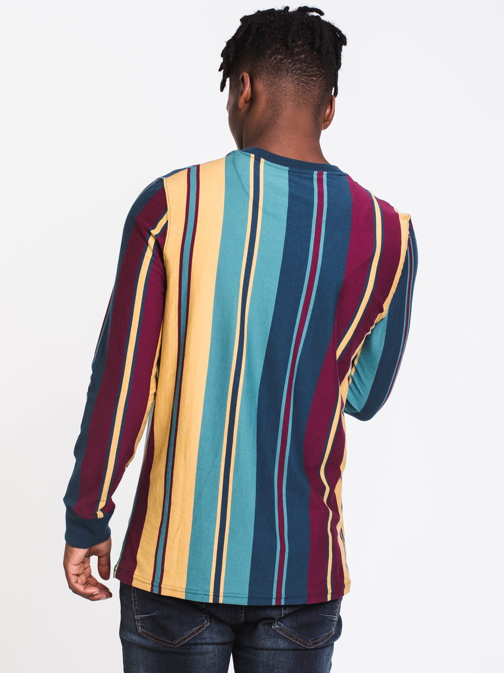 MENS VERTICAL STRIPE LONG SLEEVE CREW