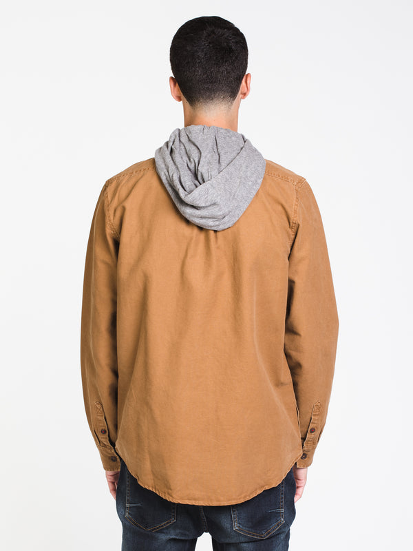 MENS COLLARED HOODED BUTTONUP
