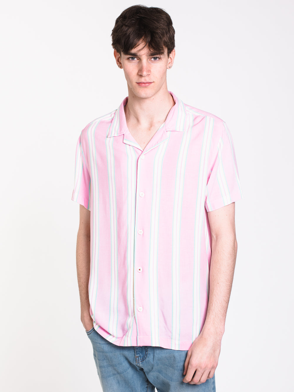 MENS RAY STRIPED CAMP SHIRT - CLEARANCE