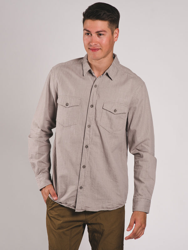 MENS DENIM LONG SLEEVE BUTTON-UP SHIRT - CLEARANCE
