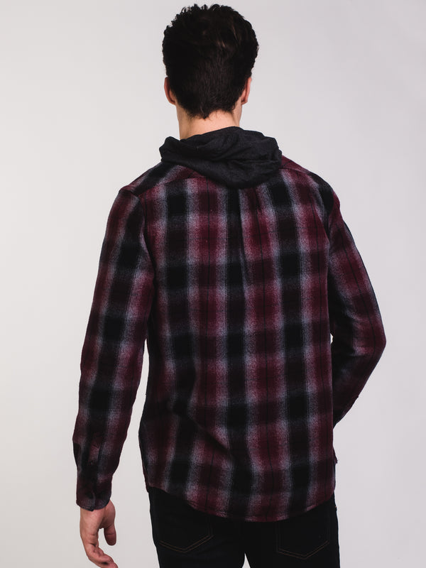 MENS CLASSIC 1PCKT HOODED PLAID