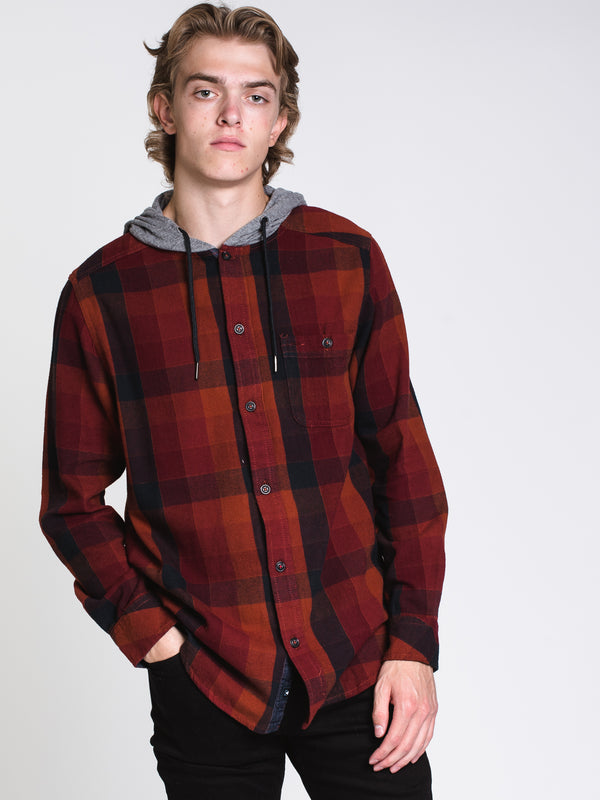MENS CLASSIC 1 PCKT HOODED PLAID