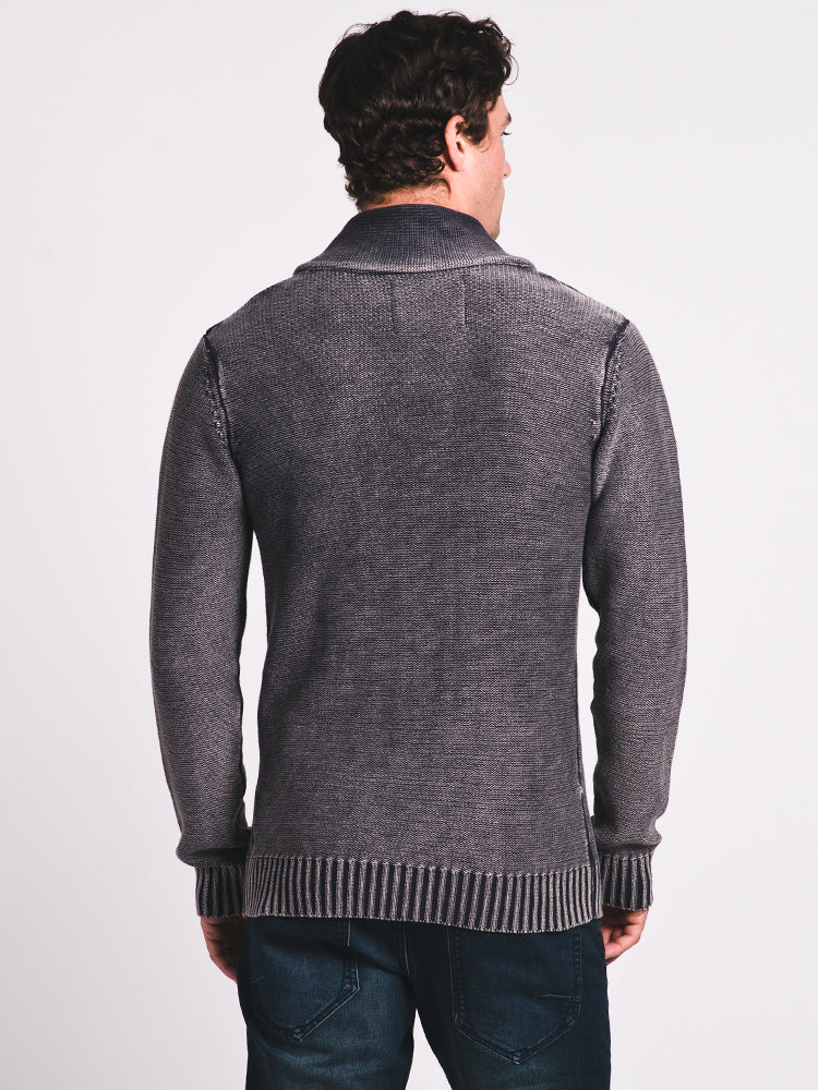 MENS ACIDWASH CABLE CARDIGAN LONG SLEEVE SWEATER - CLEARANCE